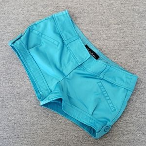 Seductions Blue Satin Short Shorts